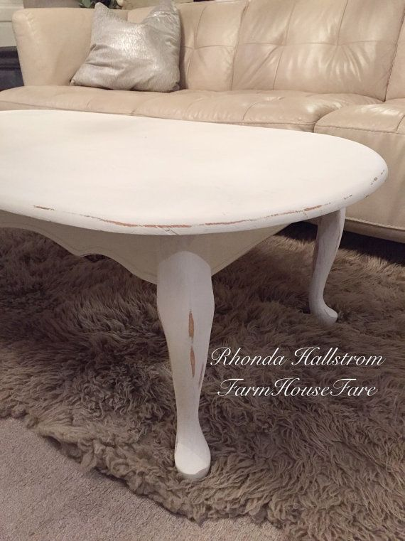 White Oval Coffee Table Shabby Chic Rustic Distressed Chalk