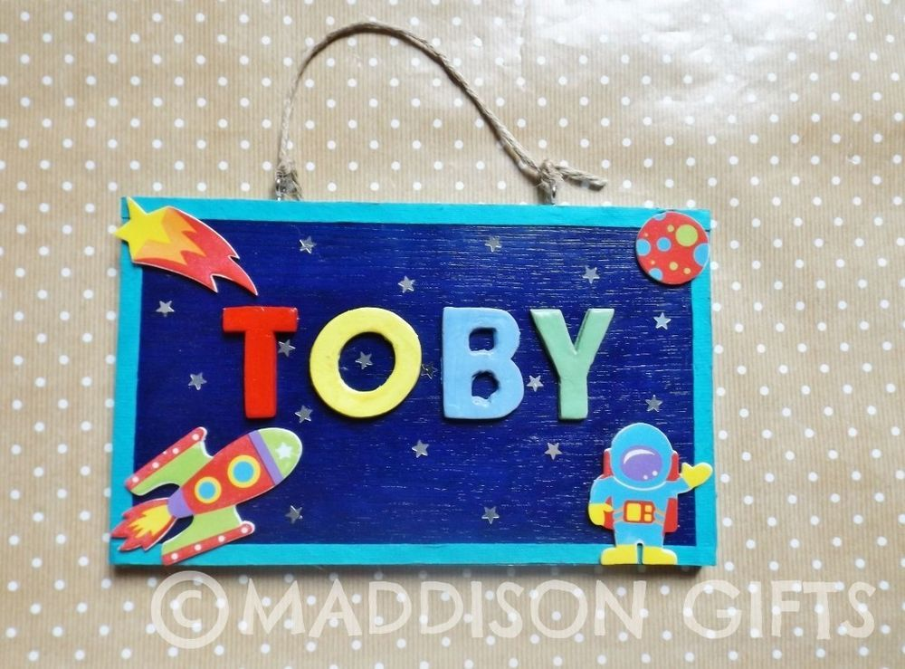 Details About Outer Space Name Plaque Spaceman Bedroom