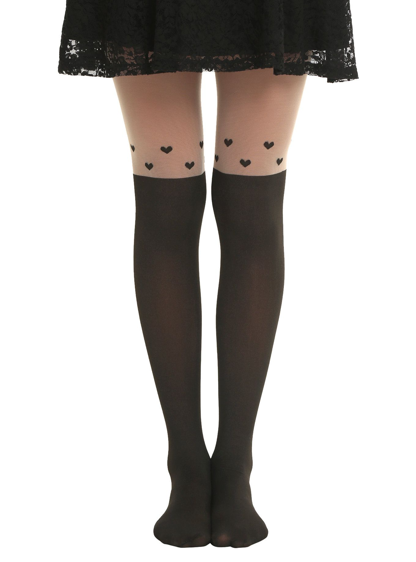 868c99c128389 LOVEsick Floating Hearts Faux Thigh High Tights | Clothes | Thigh ...