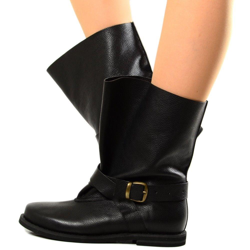 migliore offrire prezzo speciale per Stivali Biker Boots per Polpacci Grossi in Pelle Nera Fondo ...