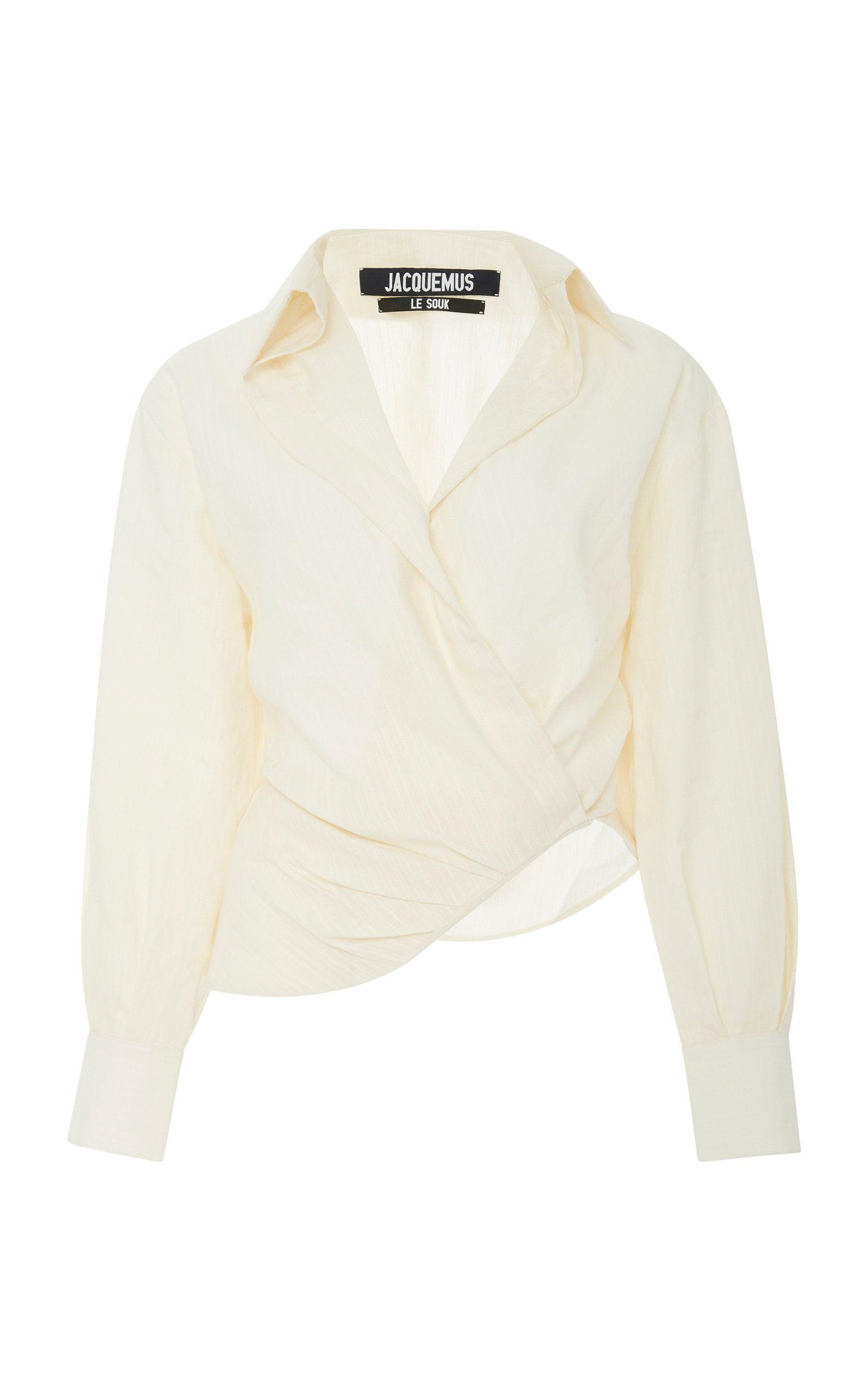 Wrap Blouse White Cotton ShopStyle UK