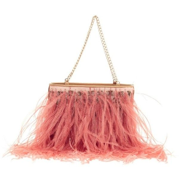 Pre-Owned Chanel Chain Strap Pochette Ostrich Feather (930 NZD) ❤ liked on Polyvore featuring bags, handbags, clutches, pink, colorful clutches, chanel clutches, preowned handbags, beaded clutches and holographic purse