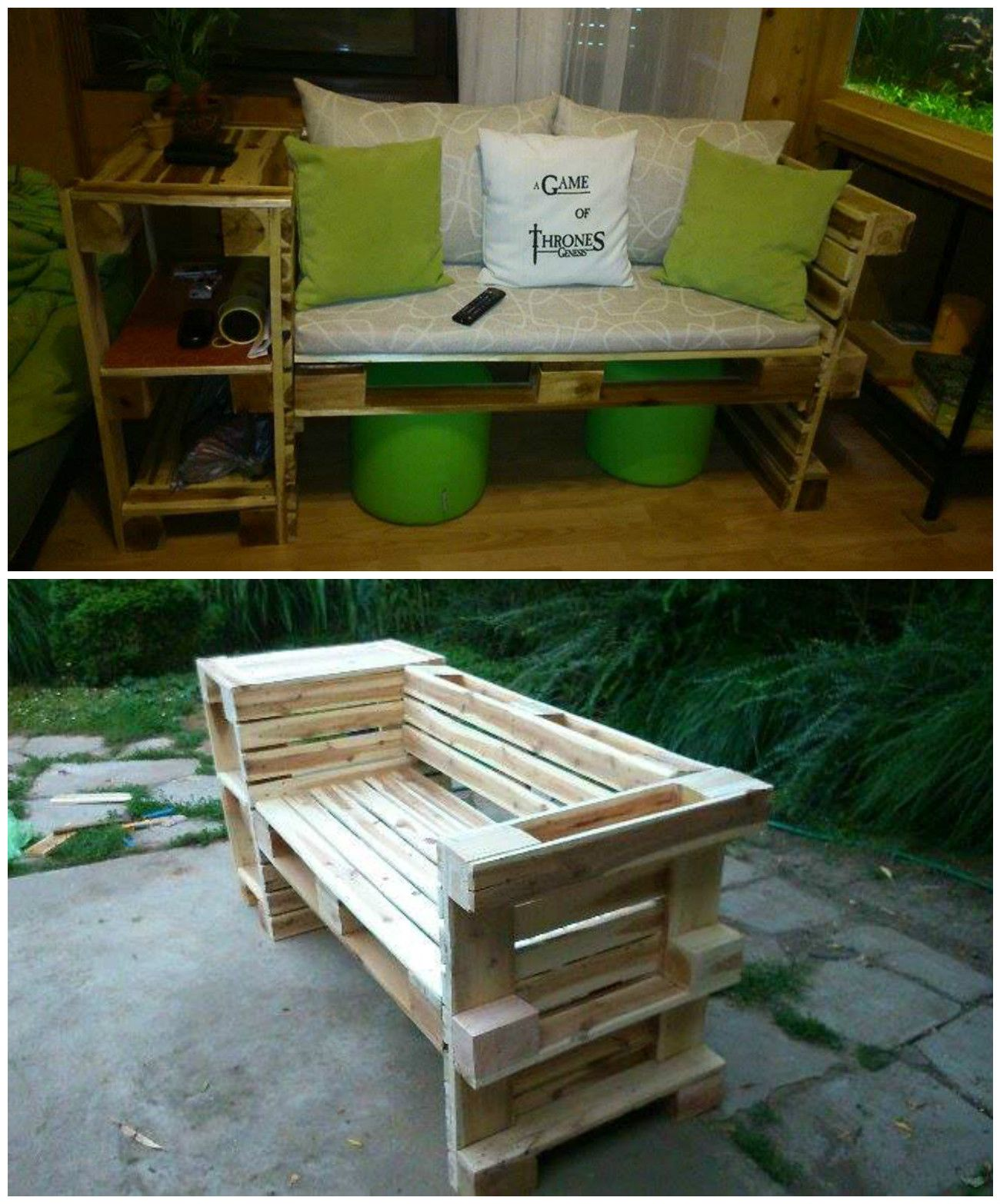 I made this couch from 3 recycled wooden pallets. I made it because I wanted a new furniture in my room. I really enjoyed it and I'm still tinkering a lot