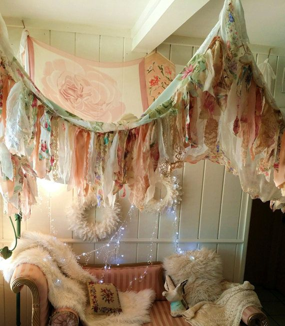 Shabby Chic Boho Bedroom Canopy Bohemian Hippy Vtg Scarves Gypsy