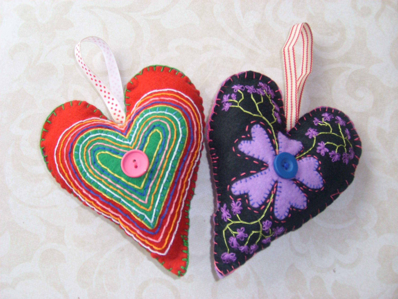 Embroidery On Felt Hearts