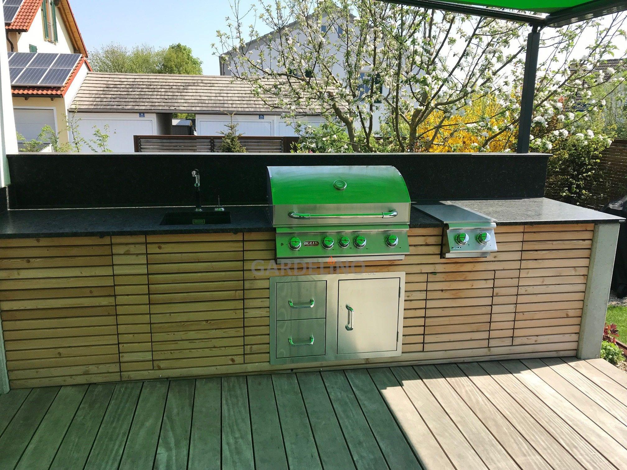 Outdoorküche Bausatz Holz : Inspiration outdoorküche aus holz mit bull bbq grill und
