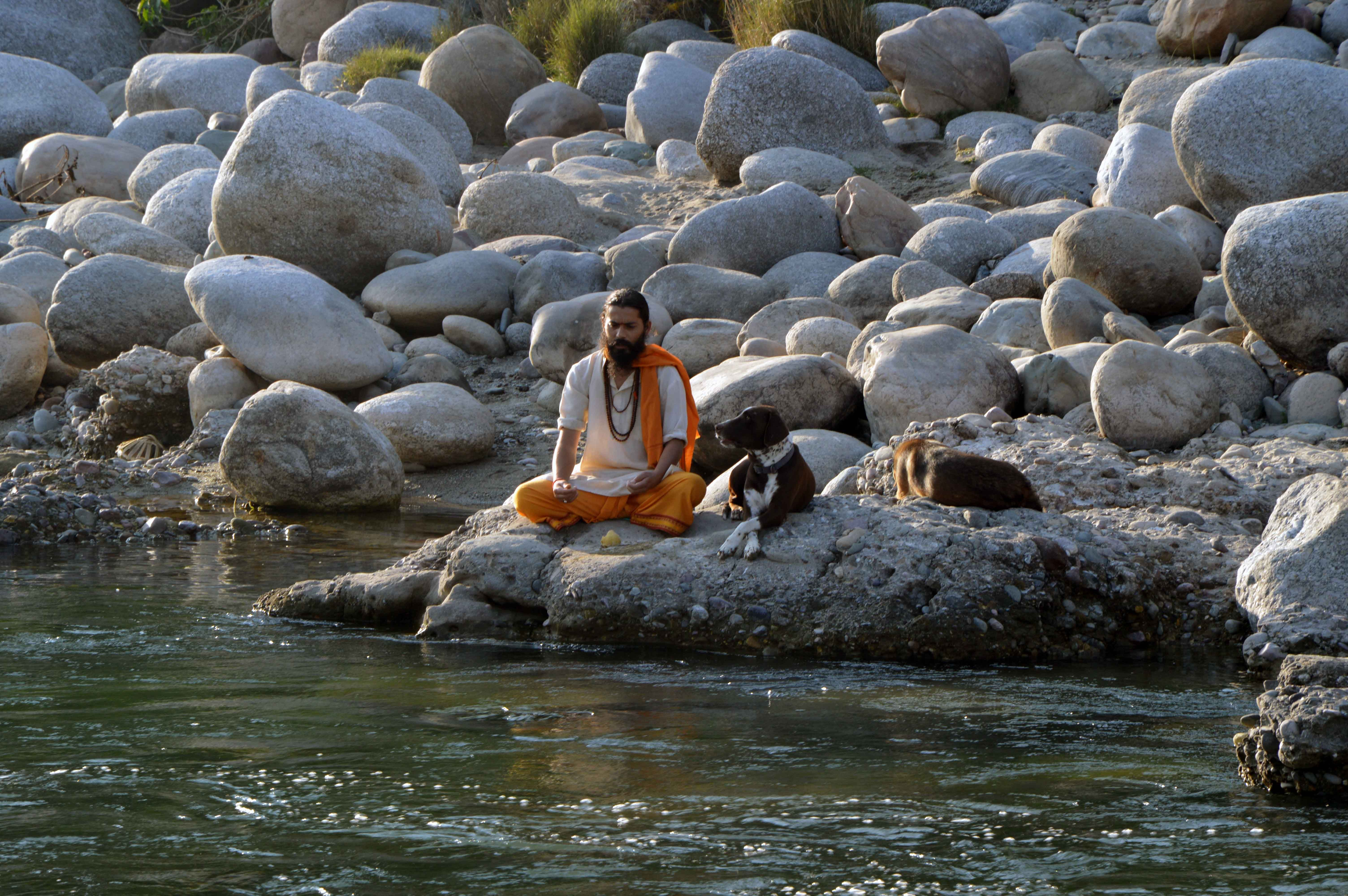 the Holy Man (Baba) at the Kangra Valley, meditating besides Mother Ganga..one of the shots from 'Arjun's debut Music video---Beer Pongd!
