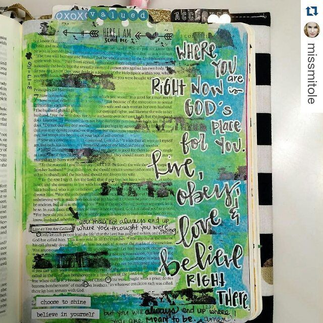 "#Repost @missmitole with @repostapp  I loved the MSG translation of 1 Corinthians 7:17-24 to embody Day 3 of @illustratedfaith Bloom devotional. ""Where you are right now is God's place for you. Live obey love and believe right there."" BLOOM right there!  This may not be where you thought you were going but it IS where you are MEANT to be. You are valuable so believe in yourself (He believes in you already) and choose to shine His light. #illustratedfaith #biblejournaling #IF_bloom #lent2016…"