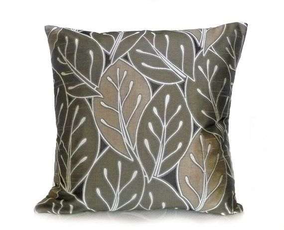 Modern Throw Pillows Leaves In Earthy Natural Colors Sage Green Brown Black Contemporar Contemporary Throw Pillows Contemporary Pillows Modern Throw Pillows