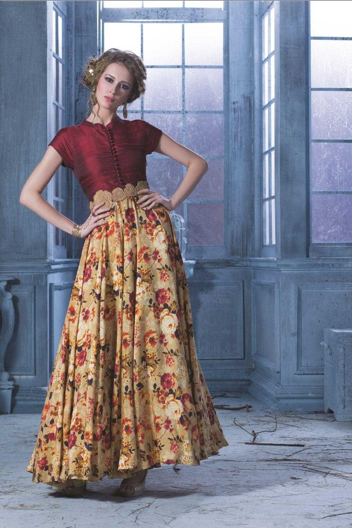1455be328218 Maroon   cream colours raw silk   soft cotton Gown -GW063