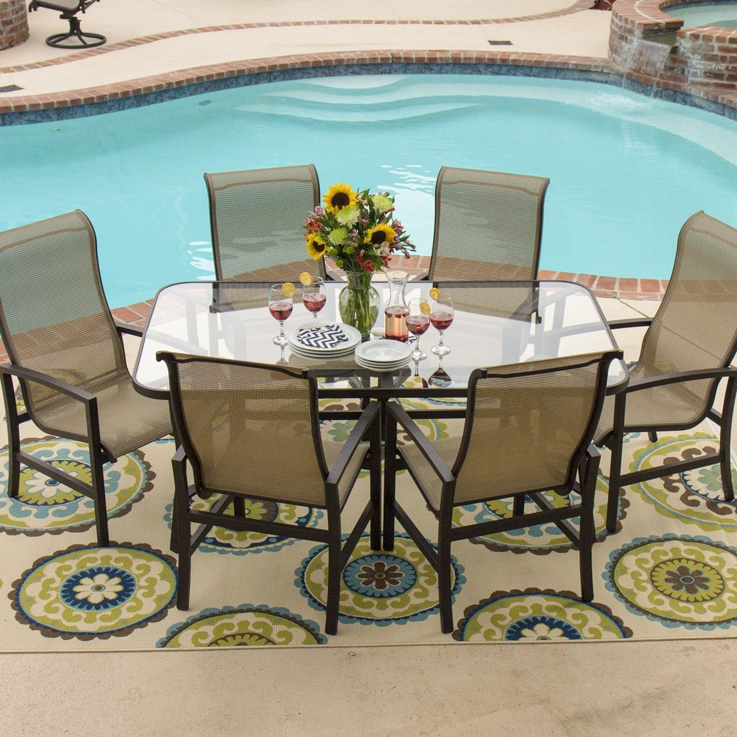 Lakeview Outdoor Designs Acadia 6 person Sling Patio Dining Set