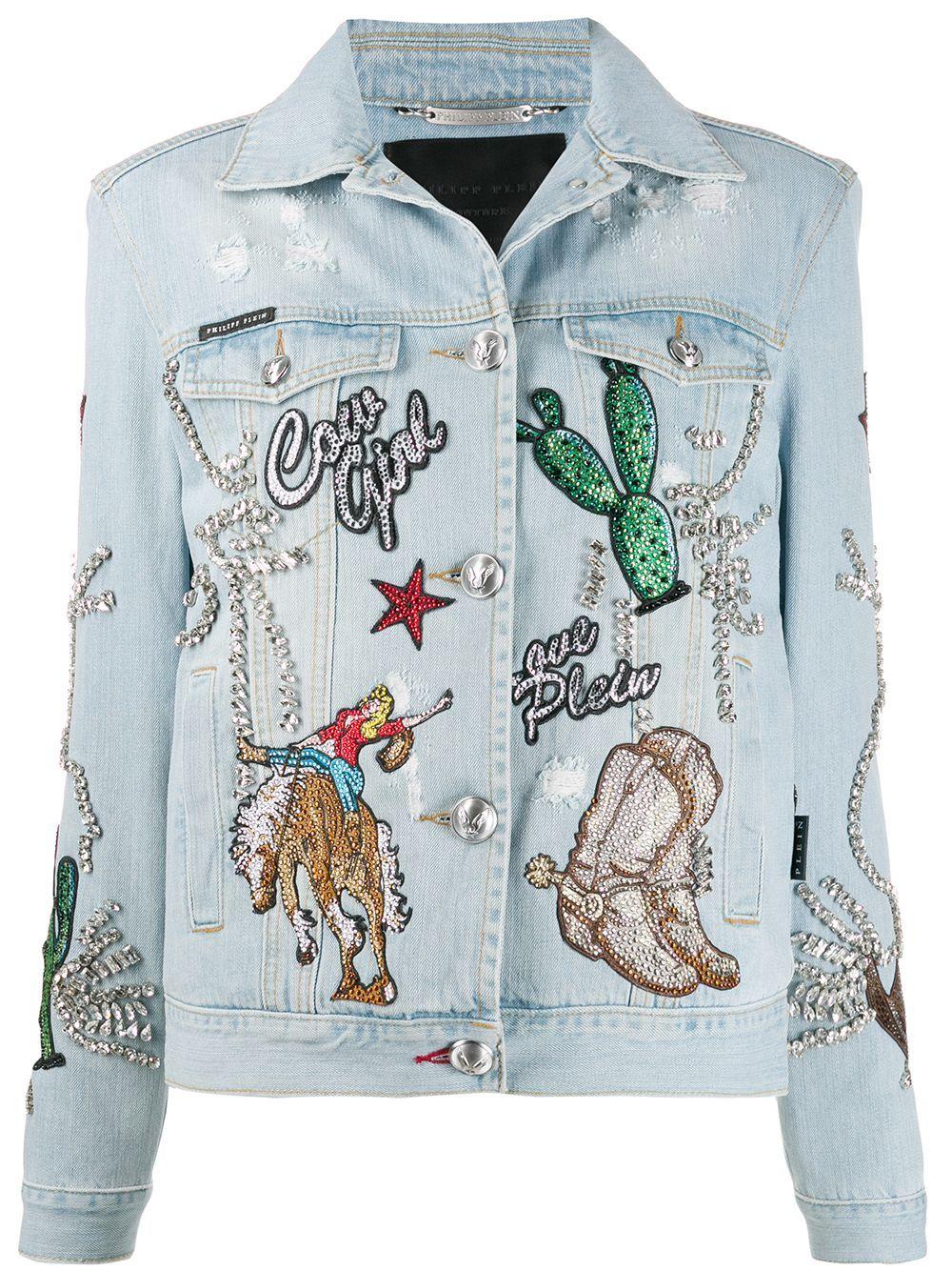 Philipp Plein Cowboy Denim Jacket Farfetch In 2021 Denim Jacket Embroidery Diy Denim Jacket Denim Jacket [ 1334 x 1000 Pixel ]