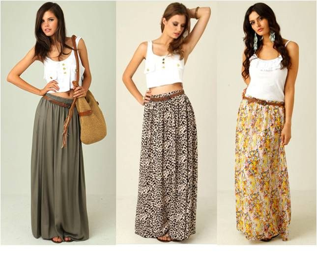 High waisted long skirt with mini top | makeup&nails | Pinterest