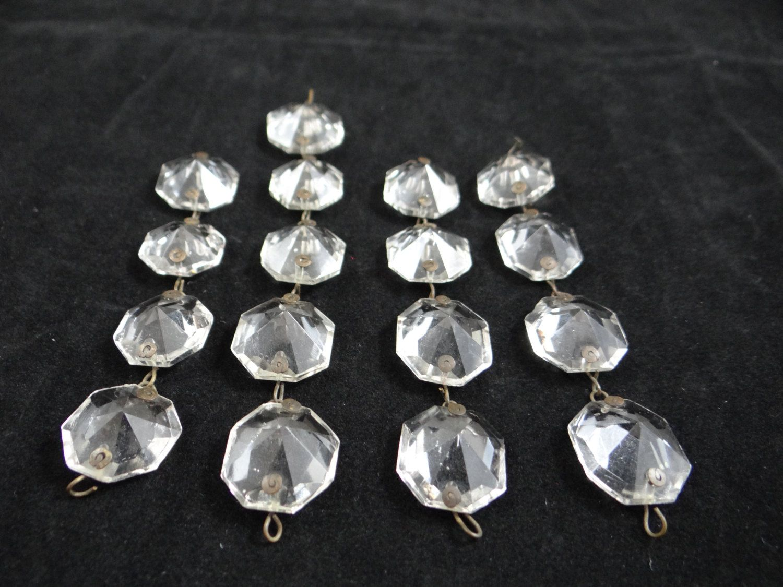 Lot Of 17 Vintage Chandelier Crystals Octagon Crystals Crystal