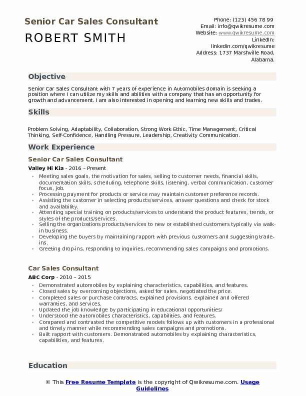Automotive Sales Manager Resume Awesome Car Sales Consultant Resume Samples In 2020 Sales Resume Examples Resume Examples Retail Resume Examples