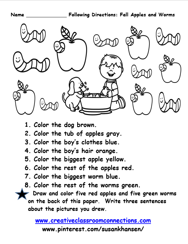 Free Following Directions Worksheet Features Adorable Apples And Worms Simple Dire Speech Language Pathology Activities Speech Activities Following Directions