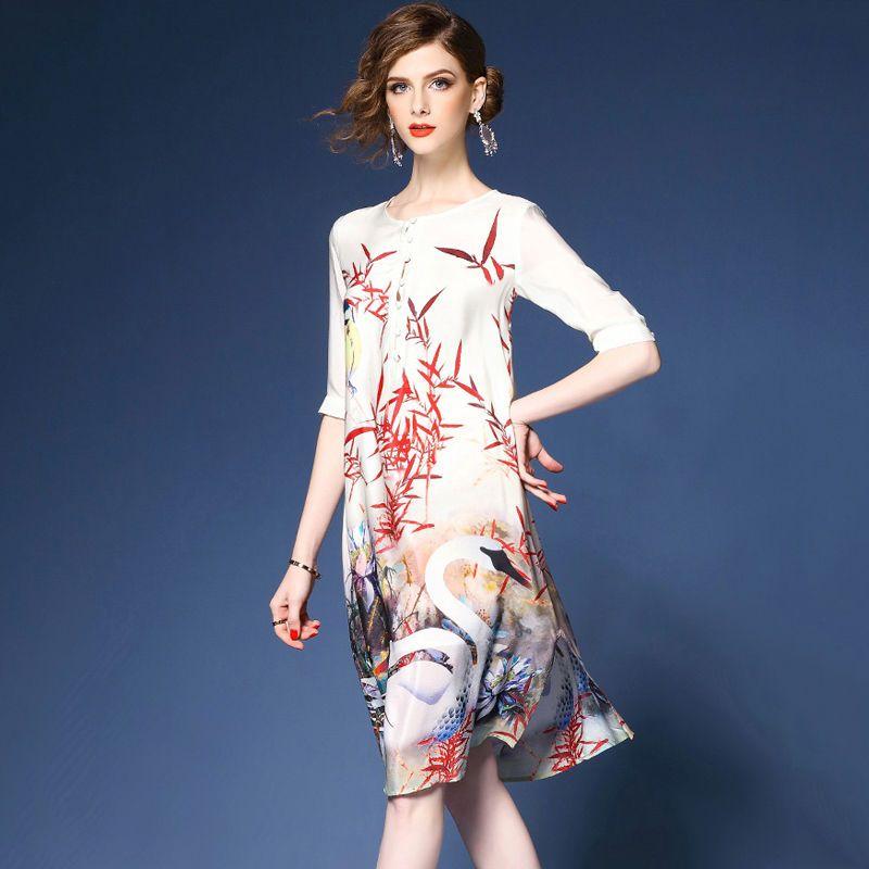 ecca4cb0429 Womens Retro Crewneck Half Sleeve Mid Long Dresses Floral Print Chiffon  Tops Hot