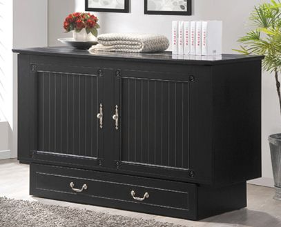 Arason Cottage Creden Zzz Murphy Cabinet Bed Black Finish