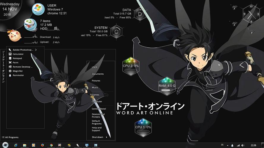 Theme Anime Windows 7 Kirito Sao Alo Ggo Kirito Sao Kirito Anime Anime wallpaper themes for windows 7