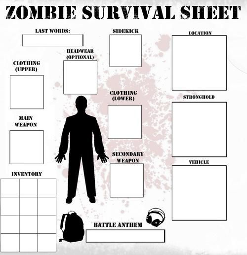 CREATE YOUR OWN Zombie Survival Sheet | Zombie Survival Gear ...