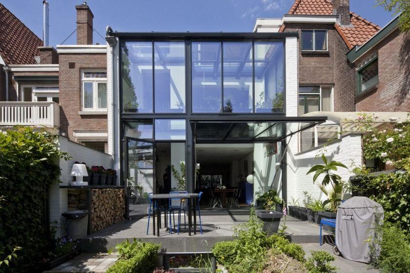 Rotterdam glazen uitbouw modern architectuur glas jaren 30 particuliere woning hoyt architect - Moderne uitbreiding huis ...