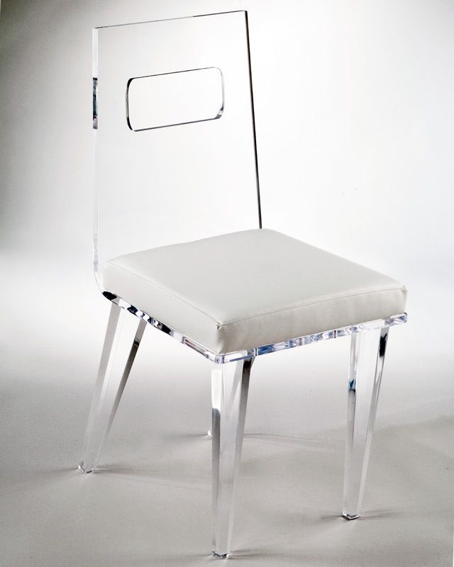 Clear Acrylic Chairs With White Cover From Muniz Plastics. Affordable  Modern Lifestyle Acrylic Furniture From Muniz Furniture.