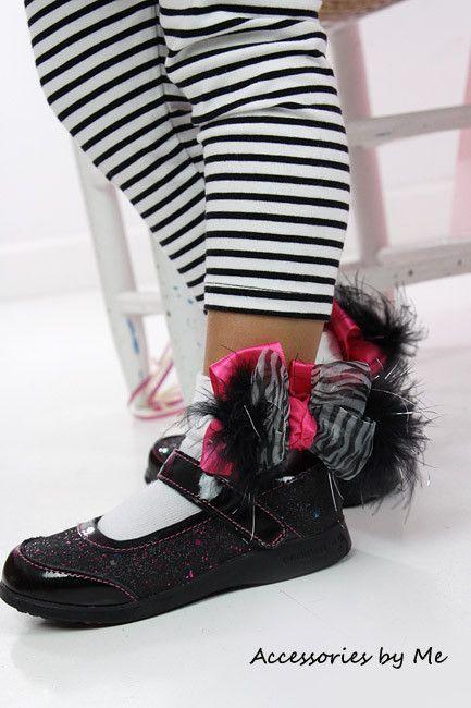 Frilly Zebra Organza Hot Pink Marabou Bow Socks