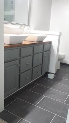Mixed Natural Gray Grout Grey Bathroom Floor Grey Floor Tiles Bathroom Flooring