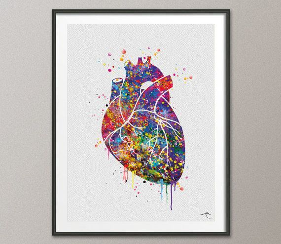 Heart Anatomy Watercolor Art Print Lovewins Wedding Gift Wall Decor Gay  Pride Art Home Decor Wall