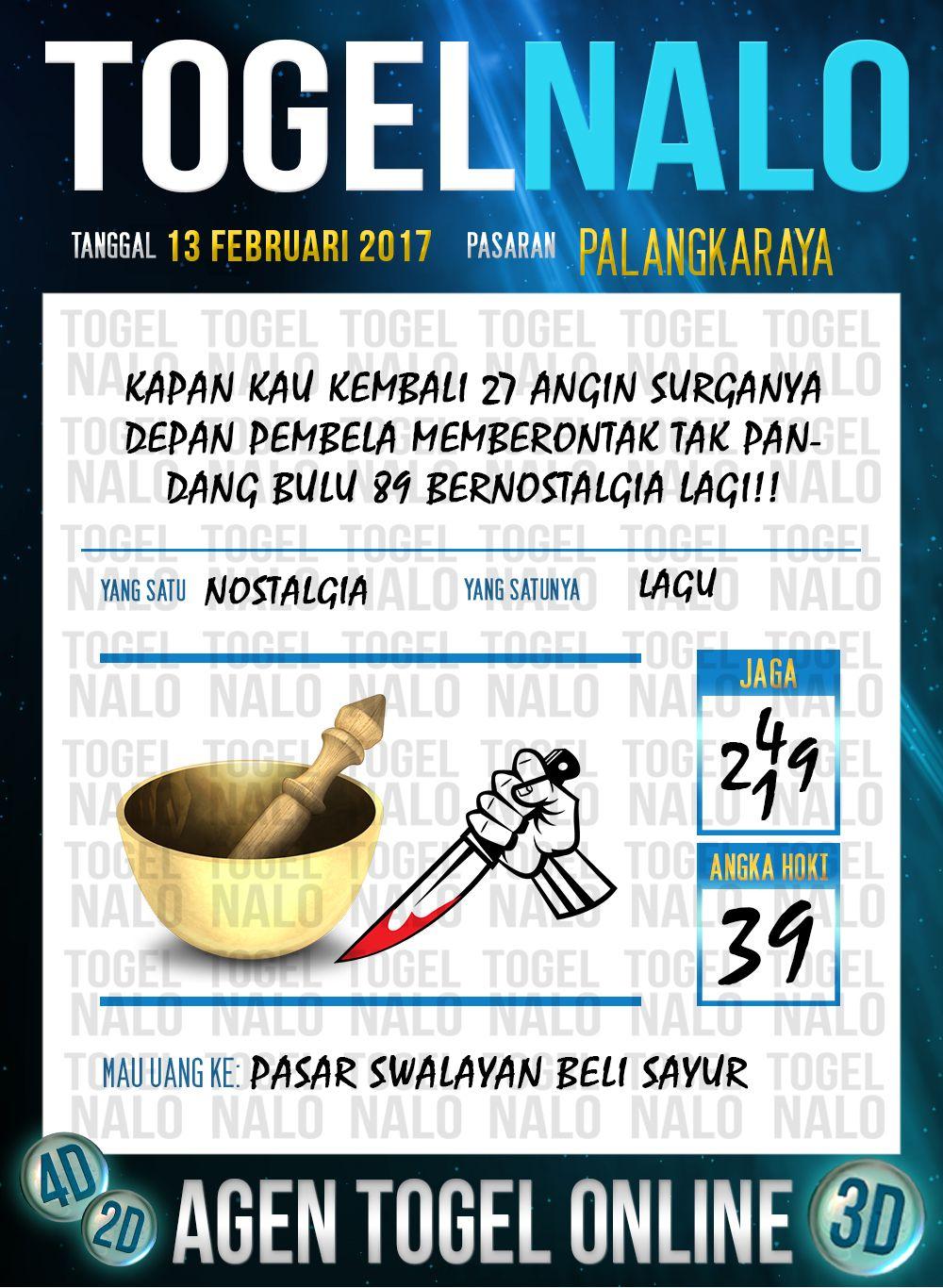 Tafsir Acak 2D Togel Wap Online Live Draw 4D TogelNalo Palangkaraya 13 Februari 2017