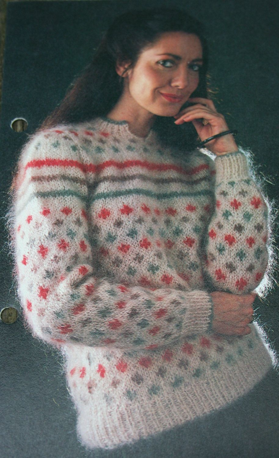 Sweater Knitting Pattern Size 34, 36, 38 Inches Bulky Weight Mohair ...