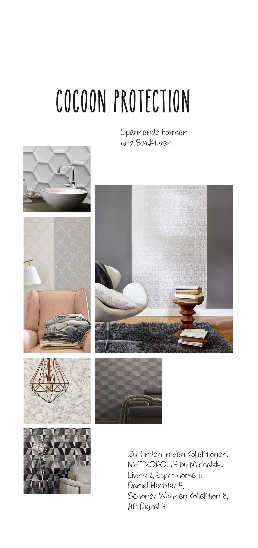Cocoon Protection, spannende Formen und Struckturen in gedeckten farben zeigen die Vielseitugkeit der Tapetenwelt bei A.S. Création