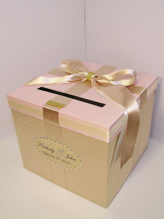 wedding quinceañerasweet 16 card box champagneblush