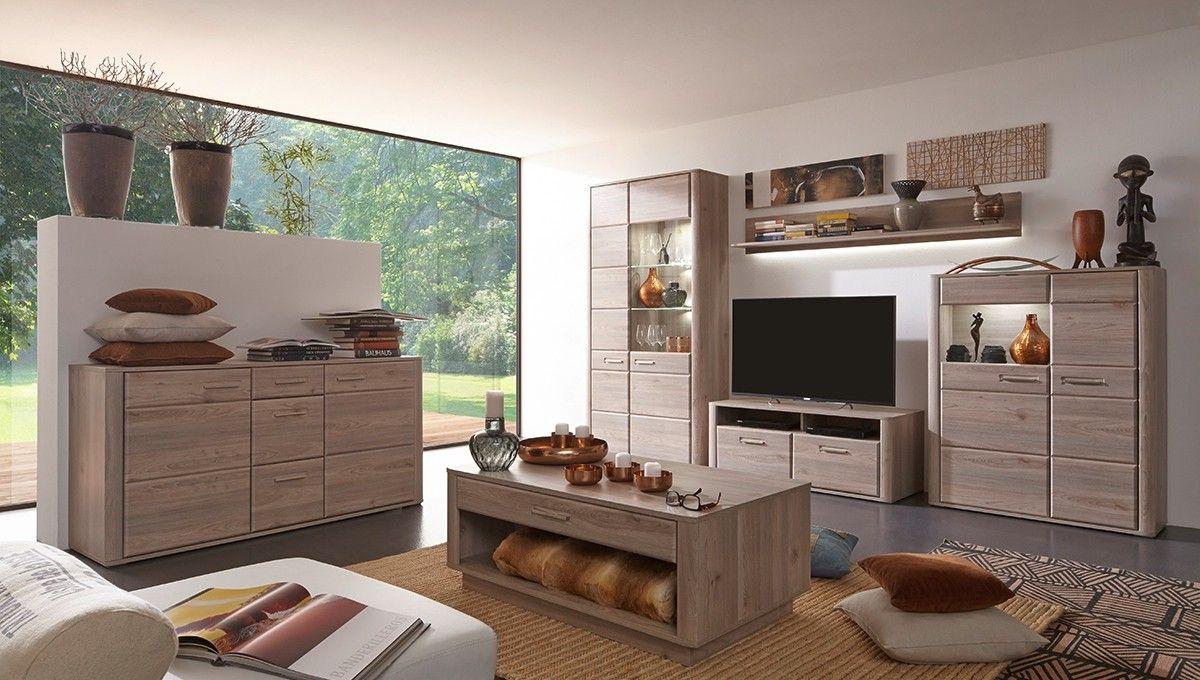 Wohnwand Wohnzimmerschrank ~ Wohnwand ravenna mit sideboard wohnzimmerschrank eiche nelson