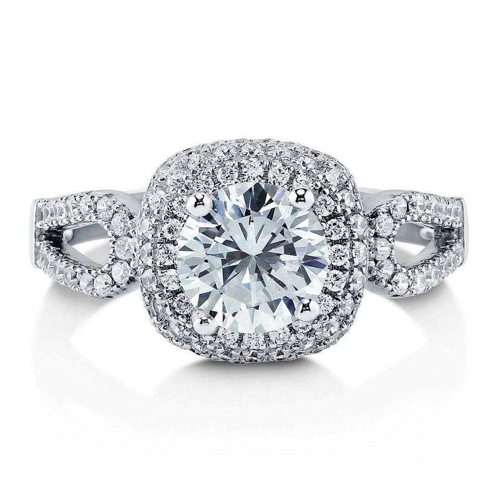 925 Sterling Silver Round Cubic Zirconia CZ Halo Ring