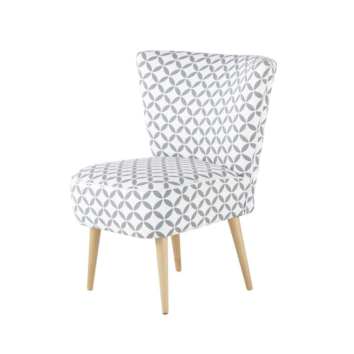 Fauteuil vintage motifs en coton gris et blanc for Chaise blanche et grise