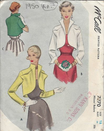 1950 Vintage Sewing Pattern B36 BOLERO JACKET (R897) | Sew ...