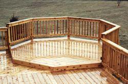 8 Octagon Deck Addition At Menards Deck Designs Backyard Backyard Patio Designs Deck Addition