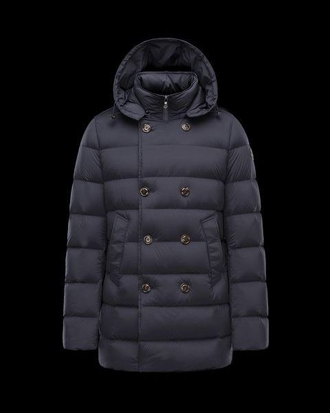 MONCLER LOIRAC Down Jacket for Men dark blue Double-breasted jacket in extremely comfortable padded stretch nylon. Water-repellent treatment