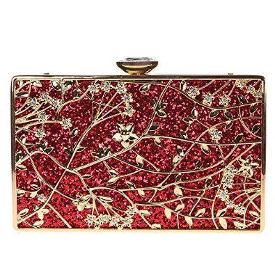 c3ab6505322 Fawziya® Metal leaves Ladies Evening Bag Clutch Bag Party Bag-Red  Handbags   Amazon.com