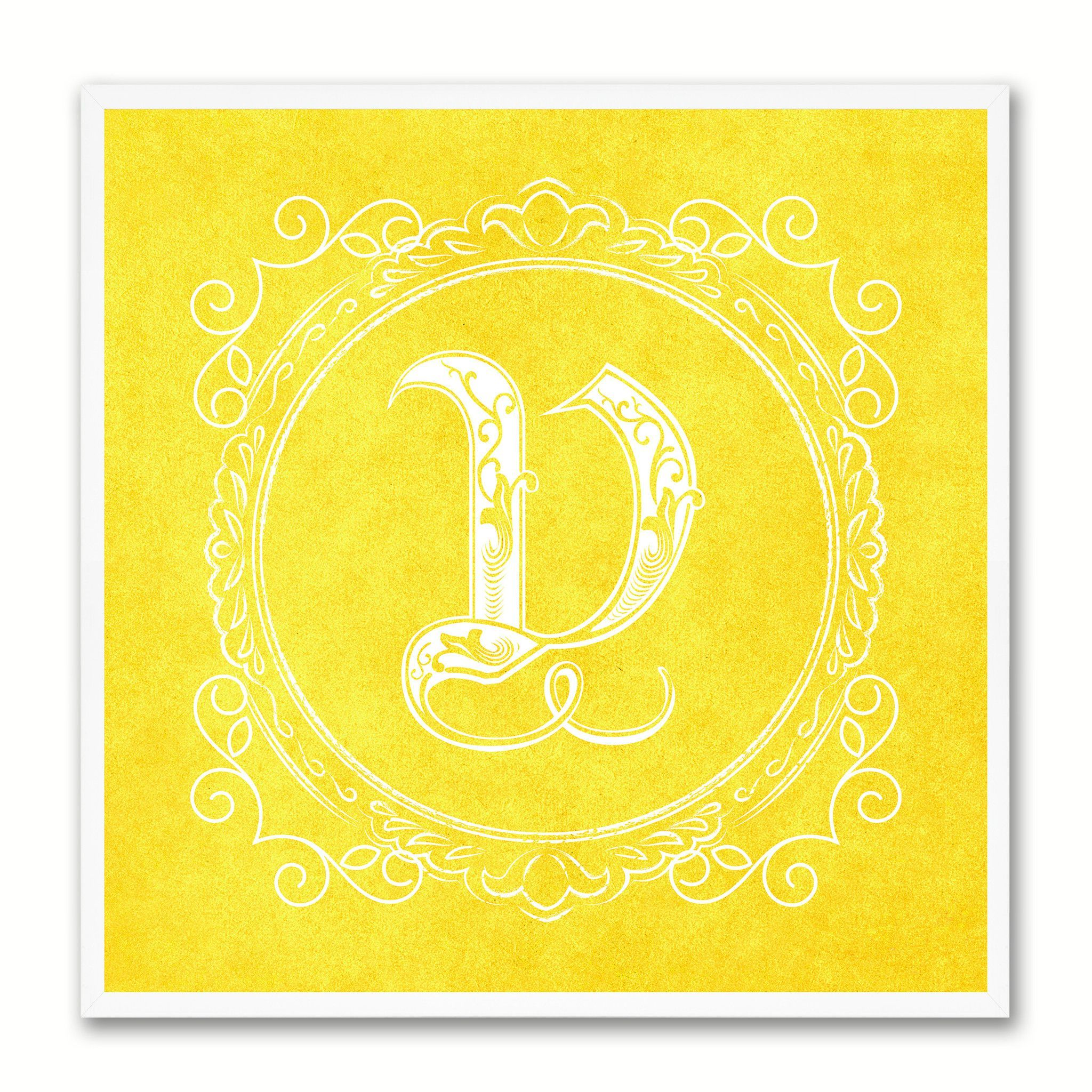 Alphabet Letter V Yellow Canvas Print Black Frame Kids Bedroom Wall ...