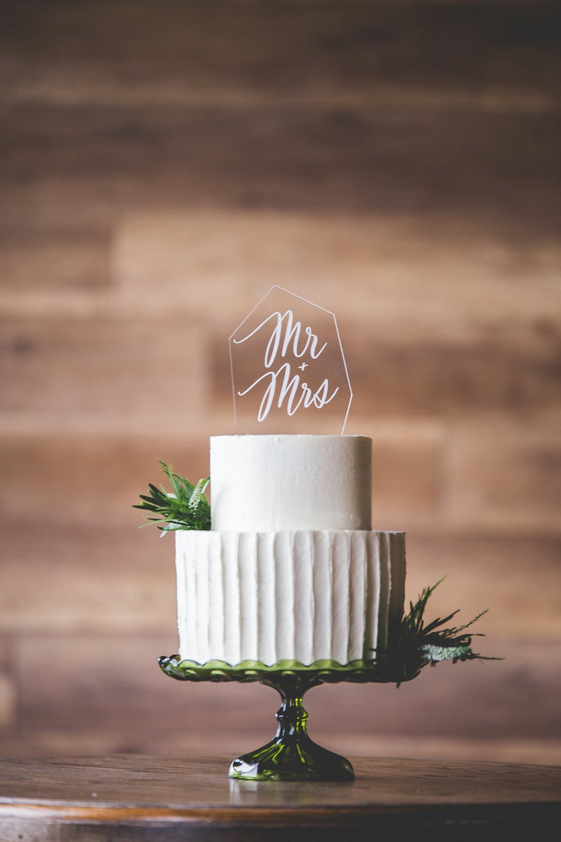 Clear Acrylic Modern Cake Topper - Glass Look Cake Topper ...
