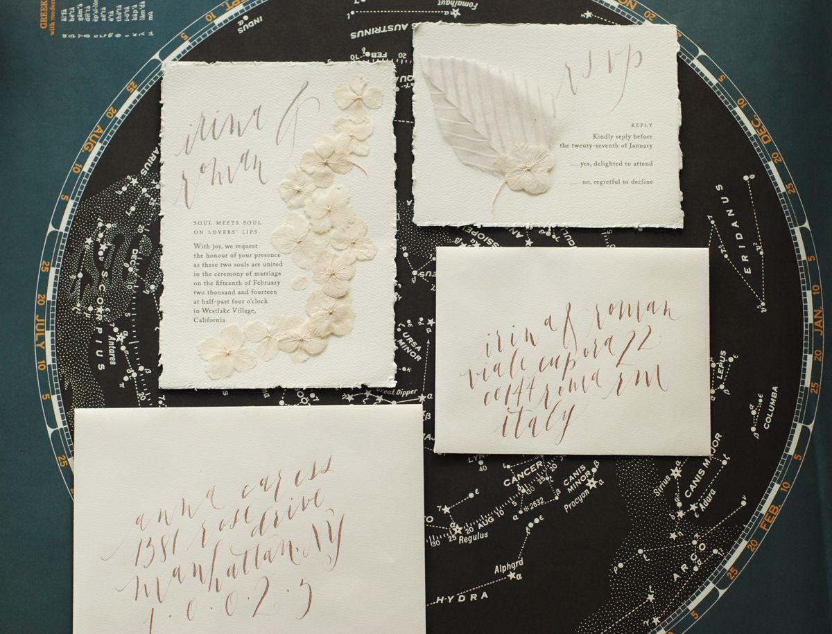 paper style wedding invitations%0A Oh So Beautiful Paper  Irina   Roman u    s Pressed Flower Wedding Invitations