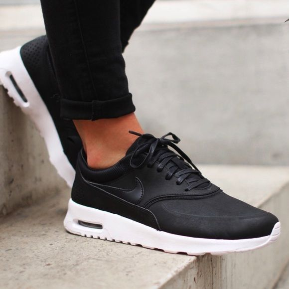 Nike Black Leather Premium Air Max Thea Sneakers •The Nike Air Max Thea  Women s Shoe is equipped with premium lightweight cushioning and a sleek 3fedd05df