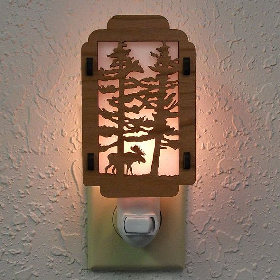 Moose night light with pine tree sides moose laser cut wood and custom crafted laser cut wood night light with manual switch 4 watt light bulb and mozeypictures Choice Image
