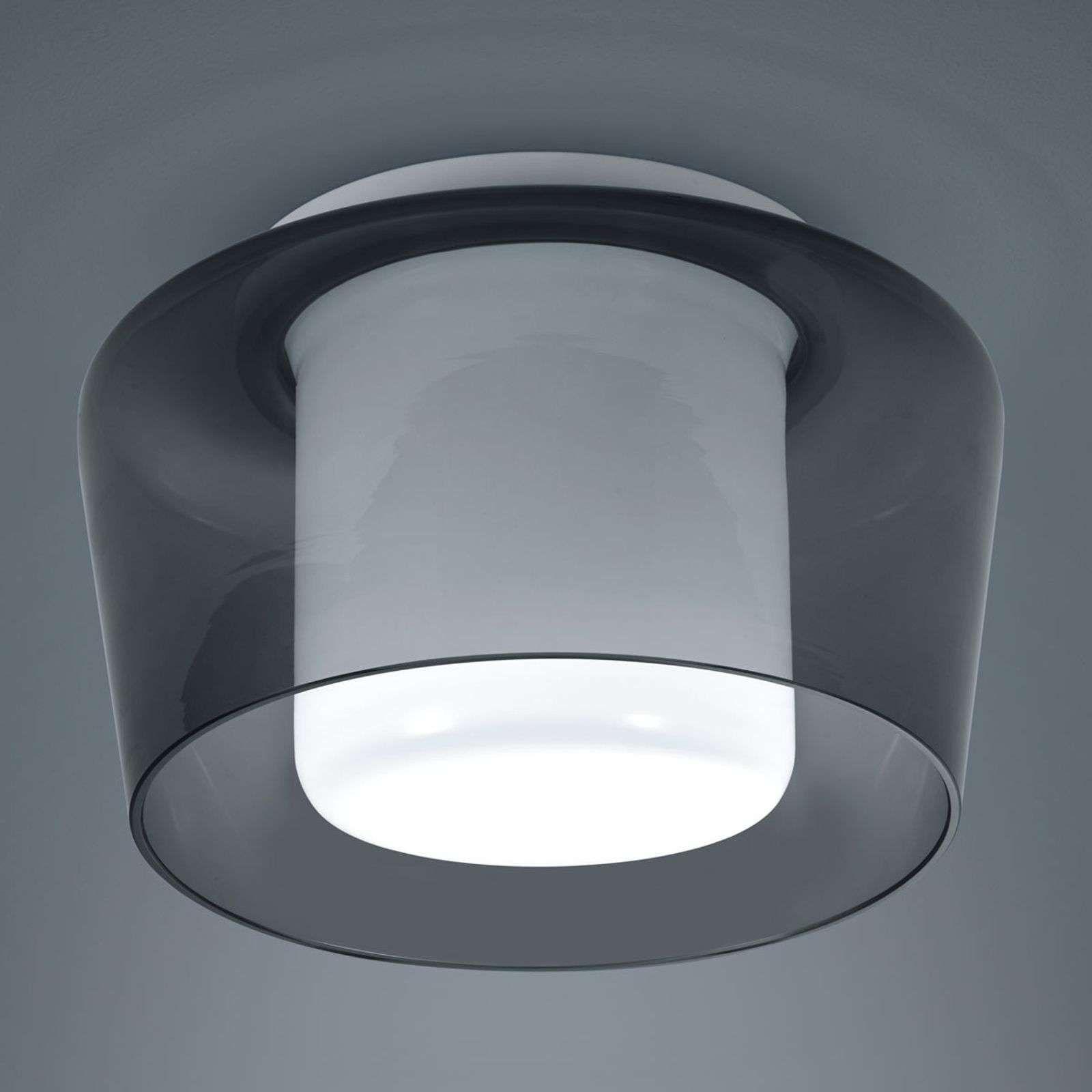 Helestra Canio Glazen Plafondlamp Rookgrijs Plafondlamp Plafondverlichting Koperen Lampen