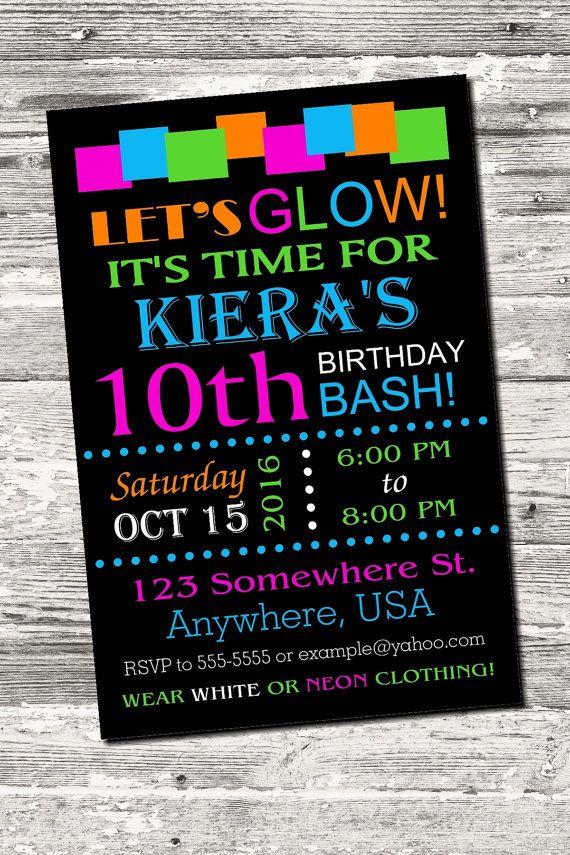 glow neon birthday party invitation printable digital birthday