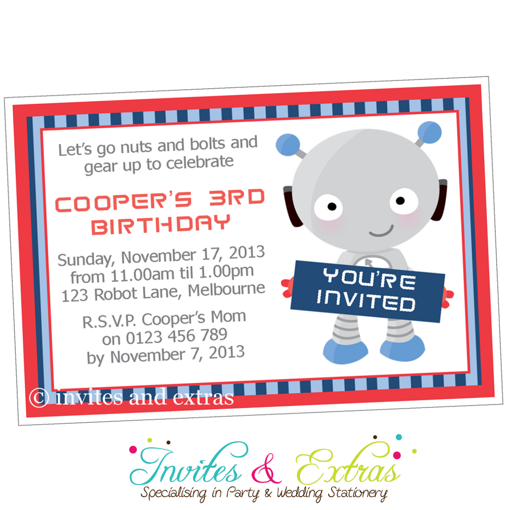 Robot Party Invitation   Robot birthday   Pinterest   Invitations ...