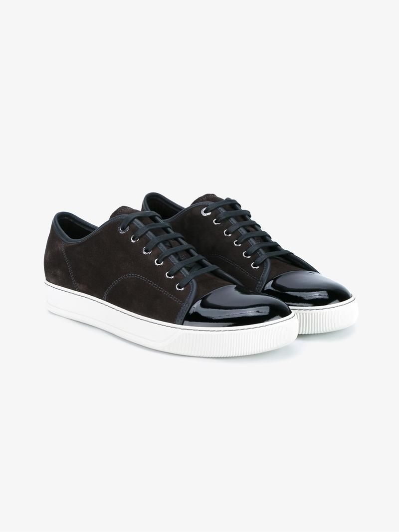 LANVIN LEATHER AND SUEDE TOE CAP SNEAKERS. #lanvin #shoes #sneakers
