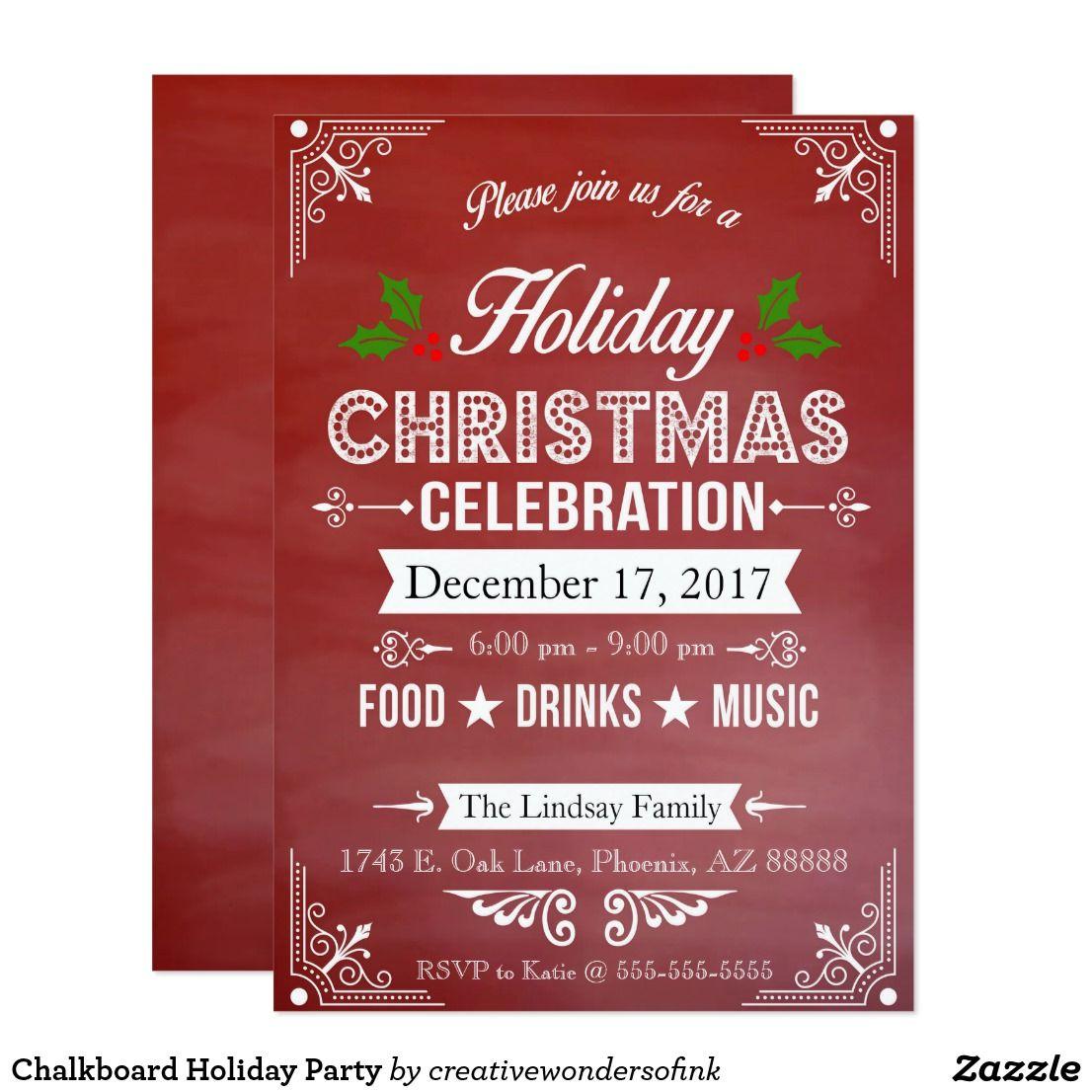 Chalkboard Holiday Party Invitation | Holidays, Celebrations, Events ...